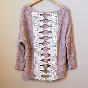 Entro crochet open back sweater